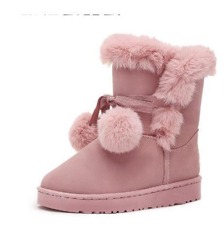 New hot sales Ladies lovely pompon fur mid calf boots 2018 new arrival plush butterfly knot female warm shoes winter snow boots