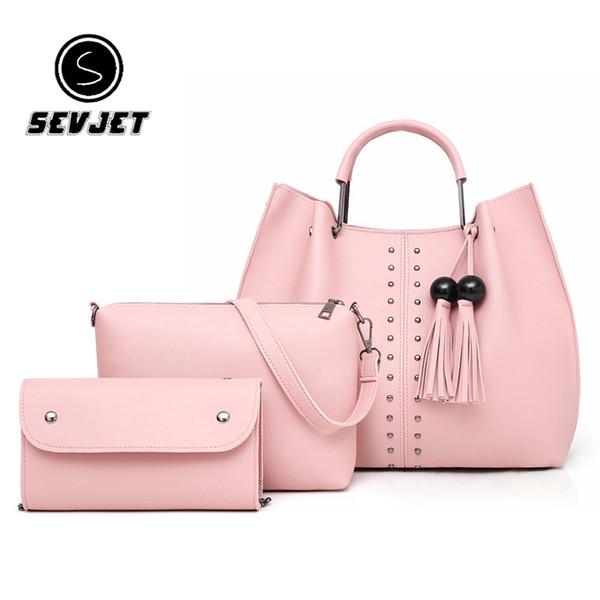 e5f7e9e9a6 3Pcs/Sets Women Handbags Leather Shoulder Bags Female Large Capacity Casual  Tote Bag Tassel Bucket