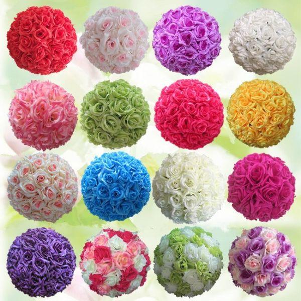 "8 ""20CM Beautiful Wedding Silk Rose Flower Kissing Balls Artificial Encryption Decorative Flower Ball for Wedding Decoration"