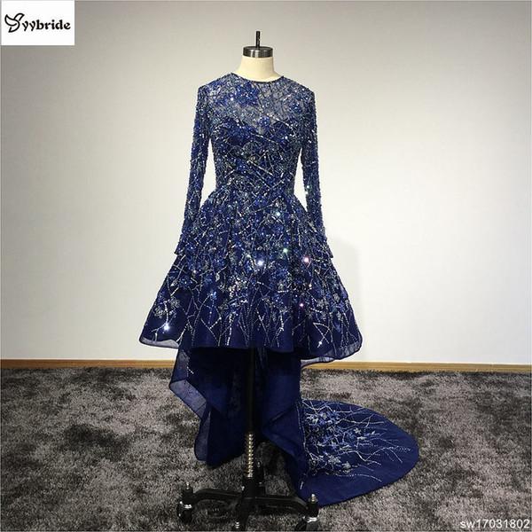 Nuevo diseño Vestidos largos para el baile de fiesta con cuentas Vestidos de fiesta Vestidos de noche O-cuello Mangas largas Frente Corto trasero Tren tren vestidos de baile C18111601