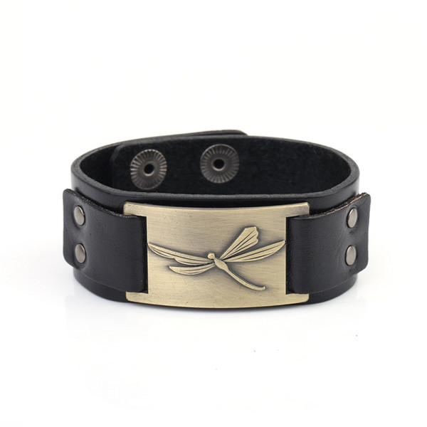 5PCS Latest Styles Charm Leather Snap Button Bracelets Viking Dragonfly Leather Adjustable Bangle For Men Women Jewelry