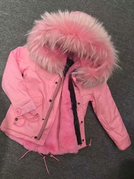 Meifng - XS-4XL (M001 Child) European and American pink raccoon fur collar and rabbit velvet liner cotton coat
