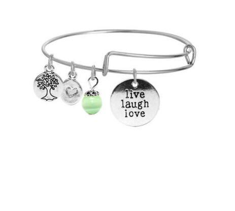 Live Laugh Love life Tree Heart Charm Expandable Wire Bangles Vintage Silver Cuff Bracelets Bangles For Women Jewelry Fashion Couple Gift