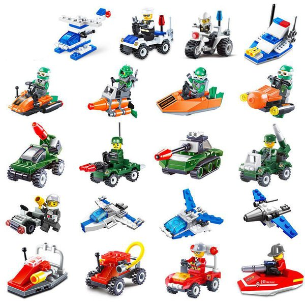 2018 new toy Jay star kaizhi military engineering police fire series mini assembled toy toy gift building block