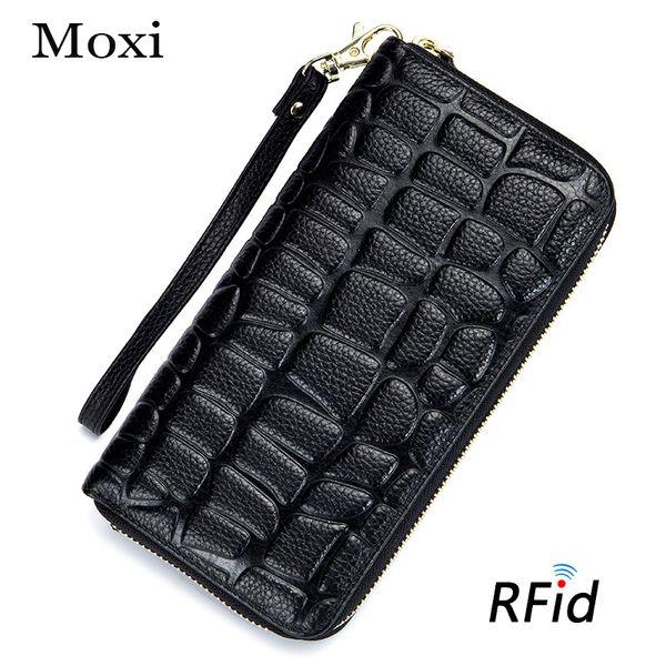 wholesale Genuine Leather Lady Purse Brand Imprint Phone Clutch Bag Card Case Women Wallet Blocking Card Holder Plaid pattern Wallet