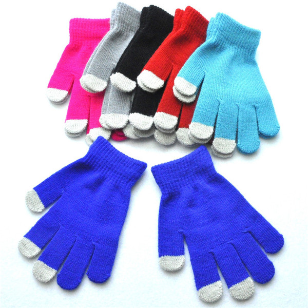 top popular Winter Warm Pupils Cold Protection Knitting Gloves Touch Screen Gloves For Mobile Phone Outdoor Riding Glove 6 Colors Friends Gift H926Q 2019