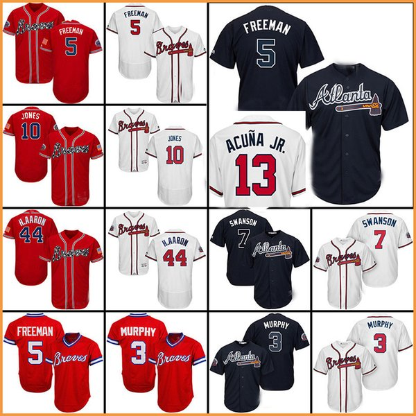 newest 482f7 e8b74 2019 2018 Baseball Jersey Atlanta Braves Jersey 5 Freddie Freeman 10  Chipper Jones 44 Hank Aaron 3 Dale Murphy From Rain_bow, $40.02 | DHgate.Com