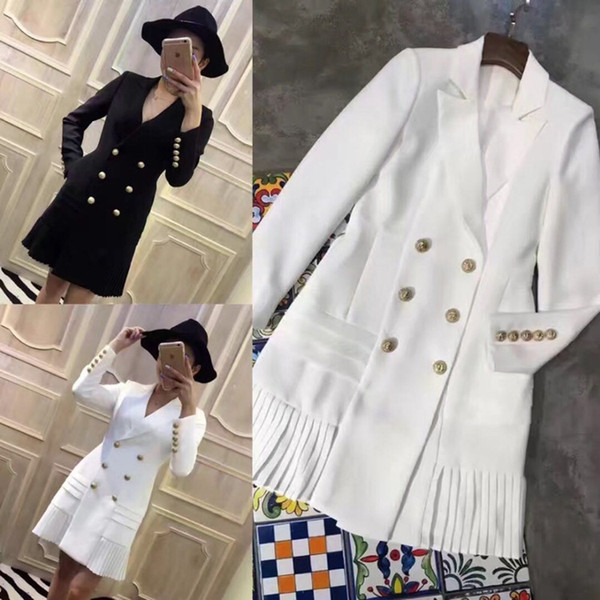 best selling New Style Top Quality Original Design Women's Classic Dress Metal Buckles Double-breasted Long Sleeve Pleated Dress