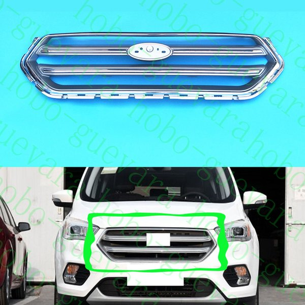 1X Car Auto Front Upper Grille Mesh Cover Grid Assembly Frame For Ford Escape Kuga 2017-2018