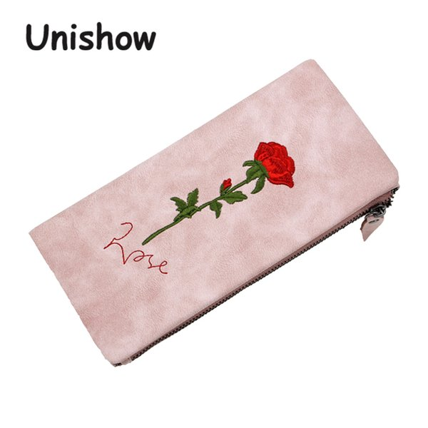 Unishow Embroidered Wallet Women Fashion Flower Purse Brand Designed Long Wallet Female Purse Card Holders With Coin Pocket Bag