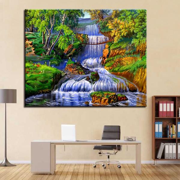 Compre Marco Pintura Al óleo Por Números Kits De Bricolaje Para Colorear Las Cascadas Cascada Fotos En Lienzo Decoración Del Hogar Paisaje