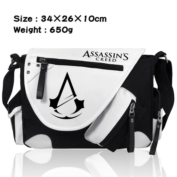 Assassins creed single shoulder Canvas Black and white coloured Satchel Bag for men and women