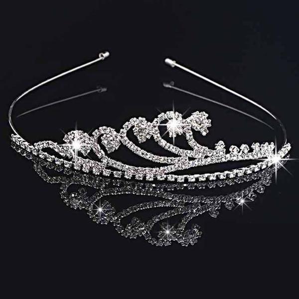 best selling Handmade Cute Silver Wedding Bridal Crystal Crown Tiaras Nice Gift Flower Girl 11.7*3CM H0016