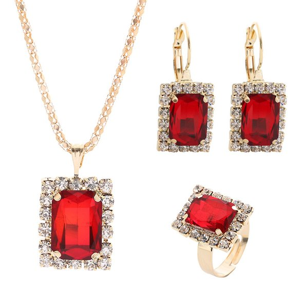 Newest Wedding Upscale Bridal Jewellery Set Fashion Square Crystal Inlay Necklace Earring Ring Set Fashion Jewelry for women
