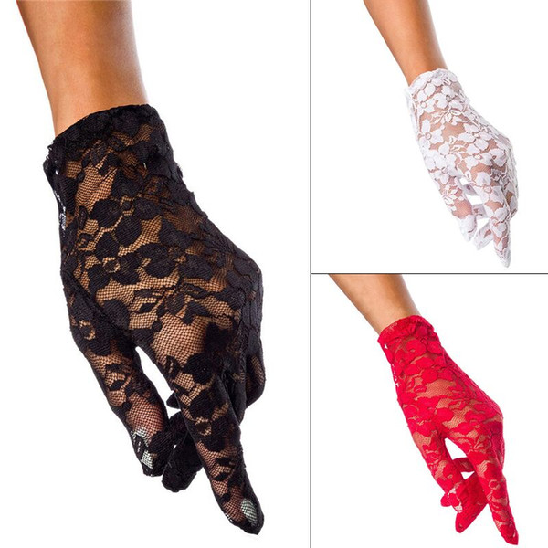 Ladies Short Lace Gloves Five Finger Mittens Wrist Length Prom Evening Bridal Gloves Fancy Dress Halloween