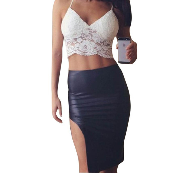top popular Summer Lace Top Camis Black White Slip Tank Tops Sexy Strap Backless Chiffon Shirt Sleeveless V Neck See Through Camisole 2021