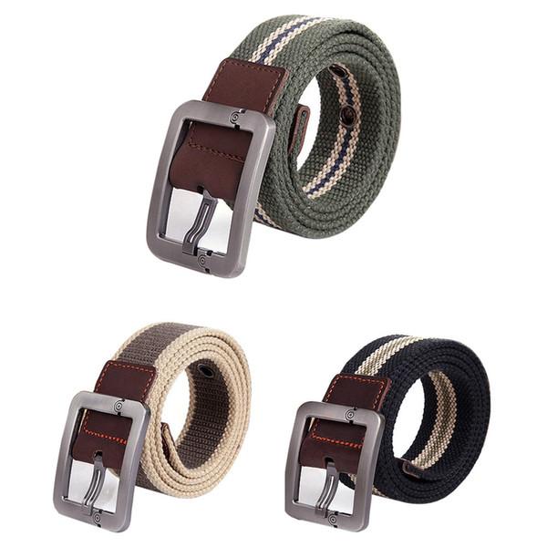 Man Women Automatic Square Buckle Waist Strap Sports Knit Canvas Belts canvas belt men