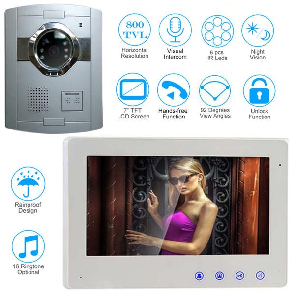 Kit de système d'interphone de Bell de porte de téléphone vidéo filaire de 7 pouces avec la surveillance extérieure de vision nocturne pour l'appartement