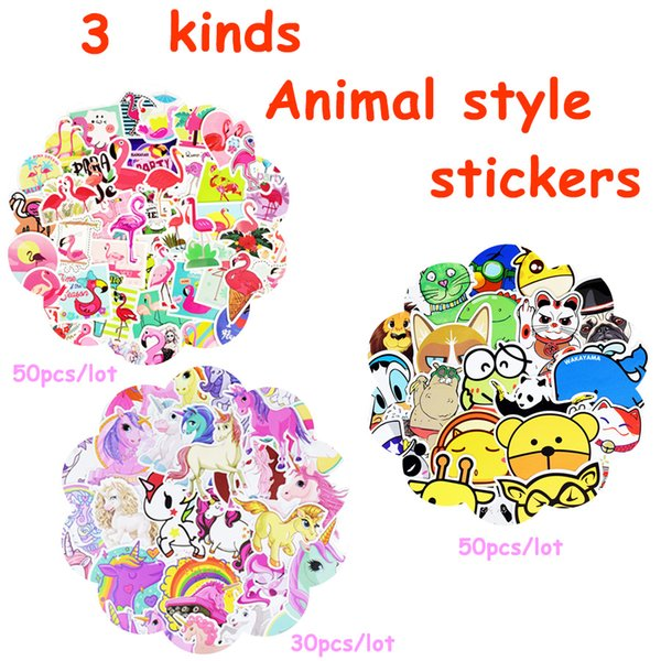 Waterproof Cartoon Animal Mixed Stickers for Children Adults DIY Desktop Wall Home Decoration Helmet Bicycle Luggage Creative Gift Stickers