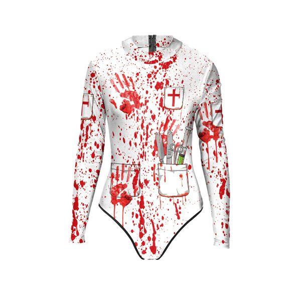 Compre Disfraces De Halloween Europeos Y Americanos Esqueletos Callejeros Estructura Corporal Estampados Salpicados De Sangre Trajes De Baño Para