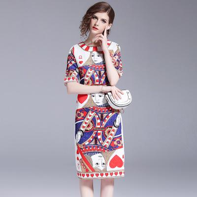 discount collection durable modeling new concept 2019 New Summer Designer Brand Runway Dress Creative Poker Printed Bodycon  Pencil Dresses O Neck Half Sleeve Cocktail Dress Party Dresses From ...