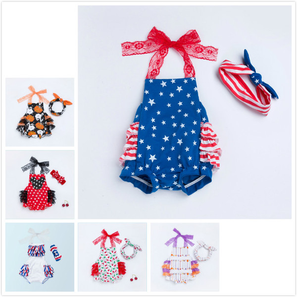 6Styles Cute Baby Girls Clothes Sets 2pcs Suits Rompers and Headbands Independence Day Red Stripe Baby Apron Belly Guard Brief Rompers