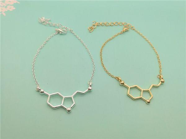 bracelet chaîne moléculaire moléculaire géométrique bracelet structure moléculaire formule chimique bracelet 5-HT polygone bijoux infirmière hexagonale