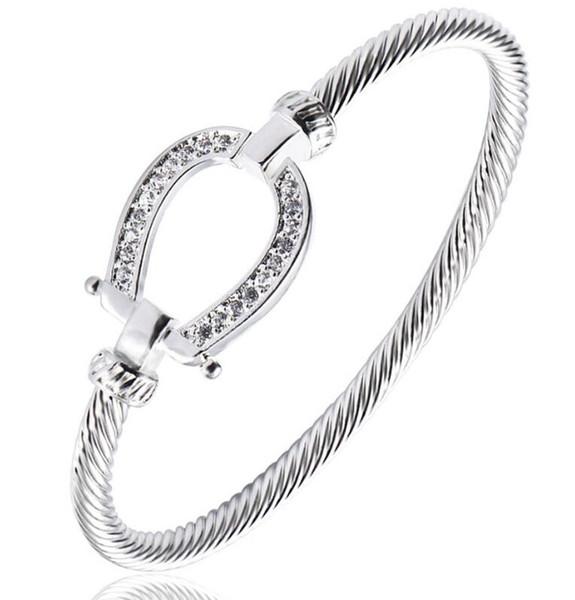 Luckyshine 6Pcs Unique Antique White Cubic Zirconia 925 Sterling Silver Open Bangles Russia Australia USA Bangles Bracelets Jewelry