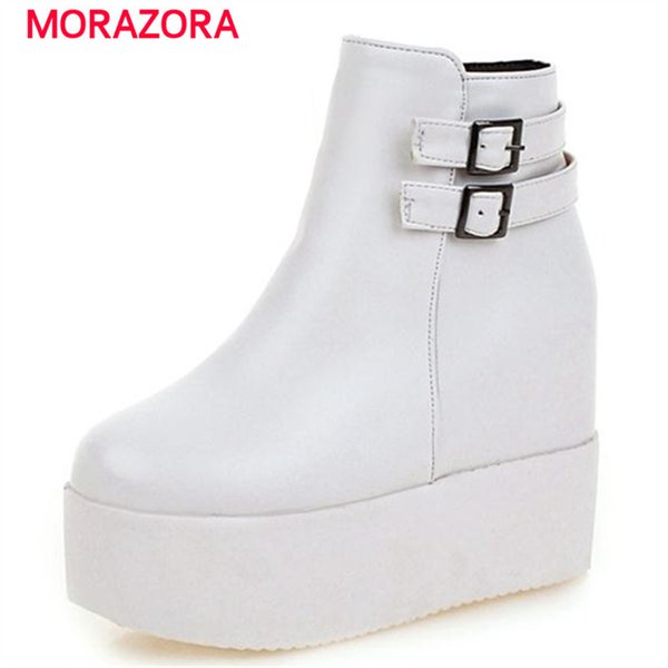 MORAZORA Hot sale platform boots PU soft leather round toe height increasing ankle boots for women autumn large size 34-43