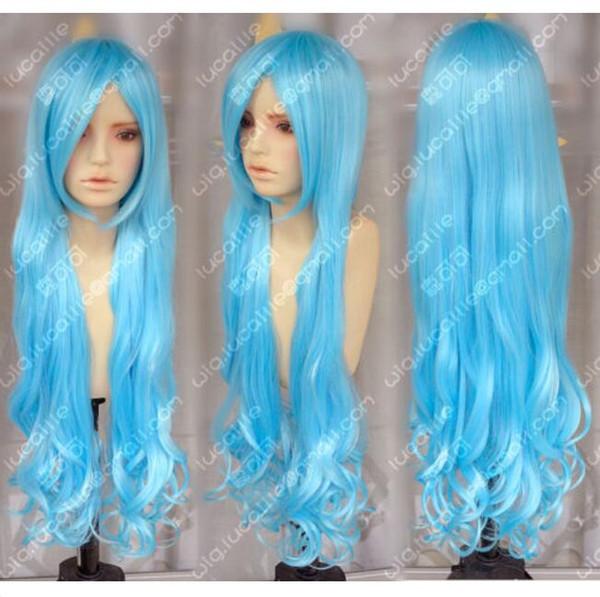100cm Aqua Blau Wellenförmige Lolita Prinzessin Party Cosplay Perücken