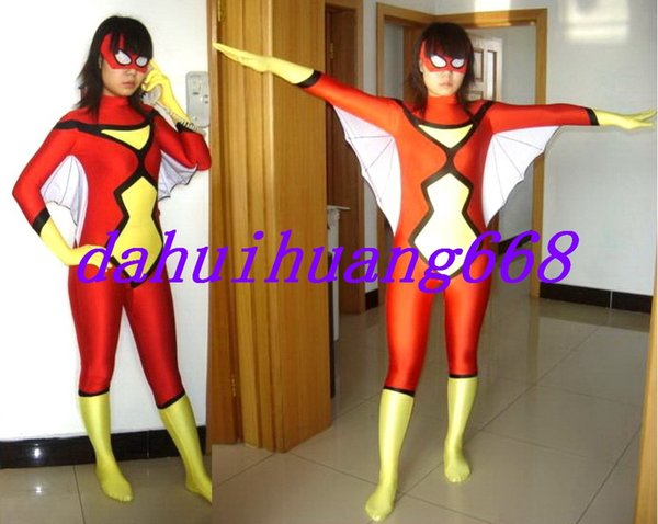 Red/Yellow Lycra Spandex Spiderman Suit Catsuit Costumes Unisex Fantasy Spider Body Suit Costumes Outfit Halloween Cosplay Costumes DH160