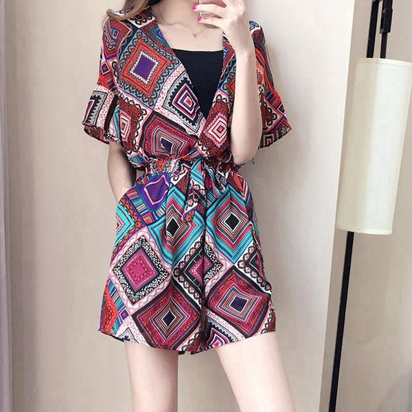 Print jumpsuits rompers Sexy beach loose boho summer jumpsuit women playsuit Female deep v neck Bohemia overalls femme rompers