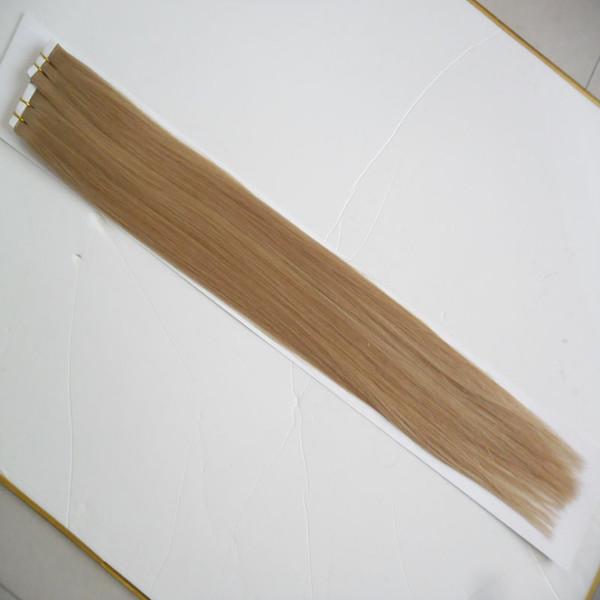 # 18 Koyu Kül Sarışın saç ürünleri işlenmemiş bakire brezilyalı Düz saç cilt atkı bandı saç uzantıları 100g (40 adet)