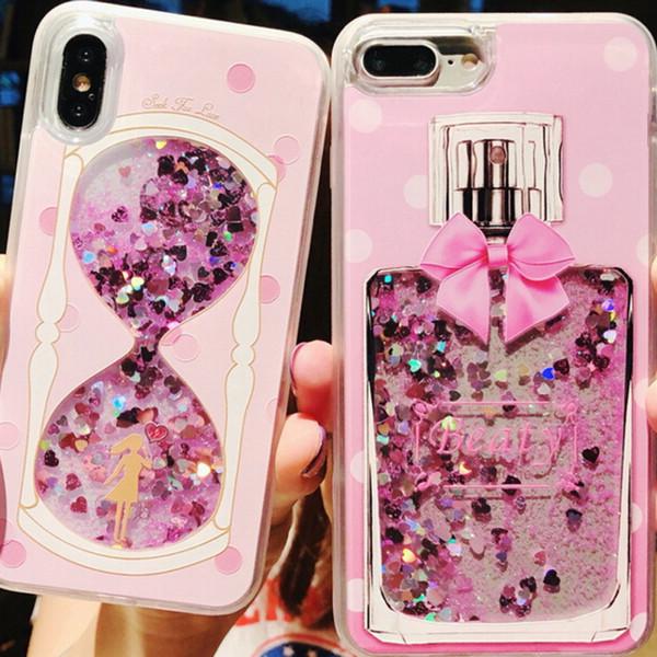 Glitter Liquid Quicksand Phone Cases per iPhone 6 6s Plus Custodia Bling Unicorn Water Paillettes Paris per iPhone 7 8 Plus X Case