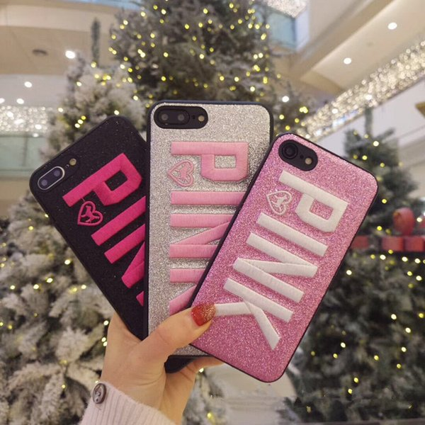 PINK Cover Fashion Design Glitter 3D Embroidery Love Pink Phone Cases For iPhone XS MAX X 8 for Samsung S9 Plus Note 9