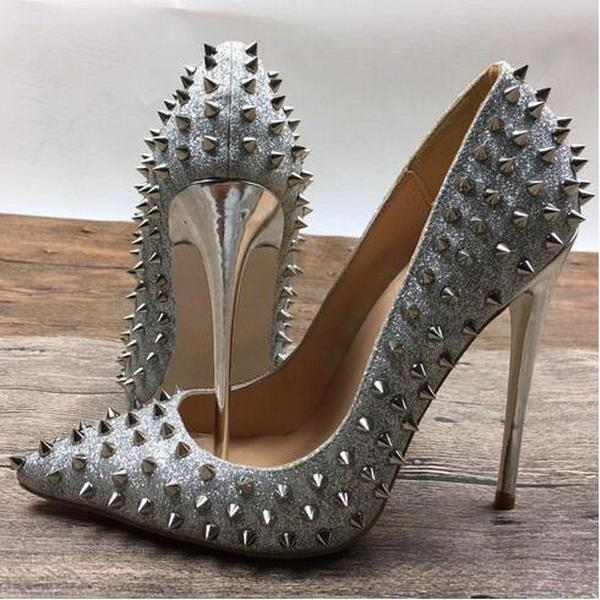 Silver Rivets Red Bottom High Heels Patent Exclusive Brand Needle Rivet Shallow Mouth High Heels Pump Wave 10 cm 12 cm 8cm 34-45 Dress Shoes