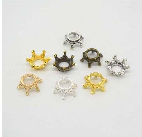 50pcs/lot Gold/Silver/Antique Bronze Color Crown Bead Caps Connectors Charms End Beads Cap For DIY Jewelry Making Findings
