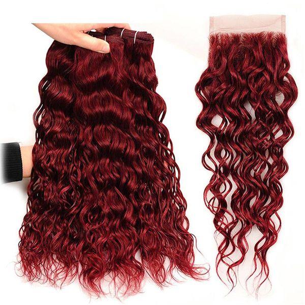 # 99J Borgoña marea de agua malaya cabello humano 3 paquetes con 4x4 cierre de encaje 4 piezas visón vino rojo mojado y ondulado armadura de cabello Virgen