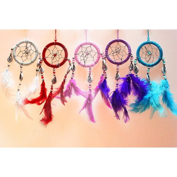 1PC Lovely Handmade Indian Style Wind Chimes Dream Catcher Net With Feather White Beads Dreamcatcher Wall Hanging Home Decor
