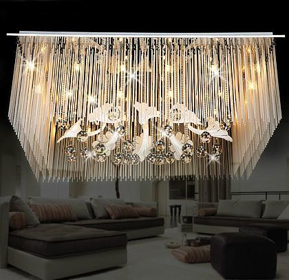 LED Modern Square Crystal Ceiling Lights Fixture Luxury Romantic Crystal Ceiling Lamps Bed Room Dining Room Home Indoor Lighting