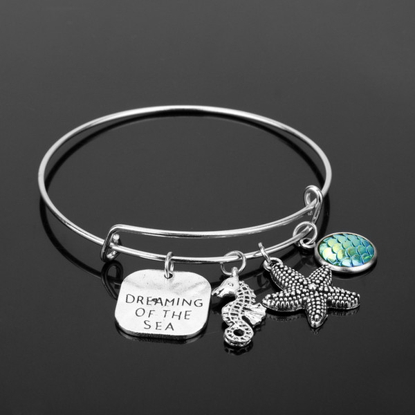dongsheng Newest Ocean Style Starfish Seahorse Bead Bracelet Mermaid Fish scales adjustable bangle for Women Jewelry -25