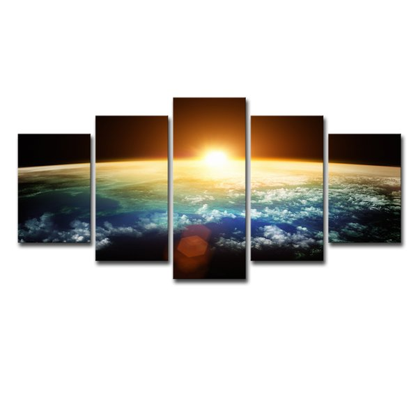 Abstract Painting Living Room Wall Art 5 Piece Universe Sunshine Space Poster HD Prints Blue Earth Pictures Home Decor Framework