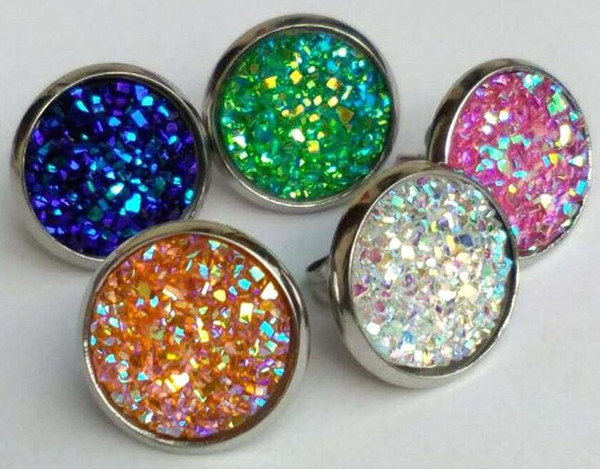 top popular 2018 cheap DoreenBeads Handmade Druzy  Drusy Resin Dome Seals Cabochon Round Earrings Fashion Trendy Woman Jewelry 12mm 10Pairs 2019