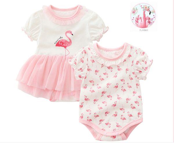 Neonato Neonata cotone Flamingo triangolo Pagliaccetti Vestiti vestiti 2018 Ragazze manica corta stampato Tuta infantile tute di estate per 0-12 M
