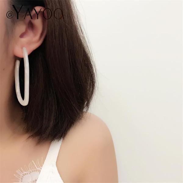 AYAYOO Big Hoop Earrings For Women 2018 Color White Fashion Fringe Earrings Boho Wedding Party Jewelry Summer Style Brincos