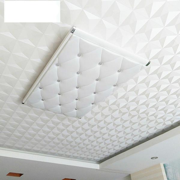 Abgehängte Decke 3D Wallpaper Classic Home Decor Diamanten Muster Schlafzimmer Hintergrund Wandaufkleber Weiß High Grade 29of Ww