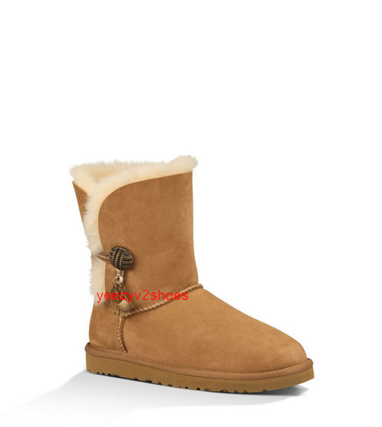 Classic Brand Real Australia Winter Suede Genuine Leather with Buckle Hanging ornament Ankle Boots Women Popular Wool Sheepskin Boots