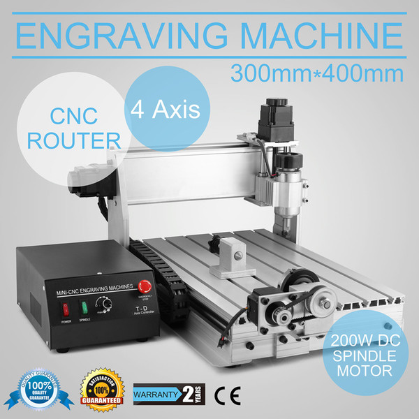 Updated New 4 Axis CNC 3040 Router Engraver/Engraving Drilling and Milling Machine for wood metal