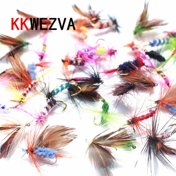 KKWEZVA 60pcs Lures Fly fishing Hooks Butter fly Insects Style Salmon Flies Trout Single Dry Fly Fishing Lure Fishing Tackle Y18100906