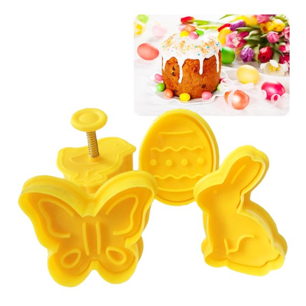 Kitchen 4Pcs/set Easter Bunny Rabbit Plastic Baking Mold Biscuit Cookie Cutter Pastry Plunger Fondant Cake Tools 3D Stencil